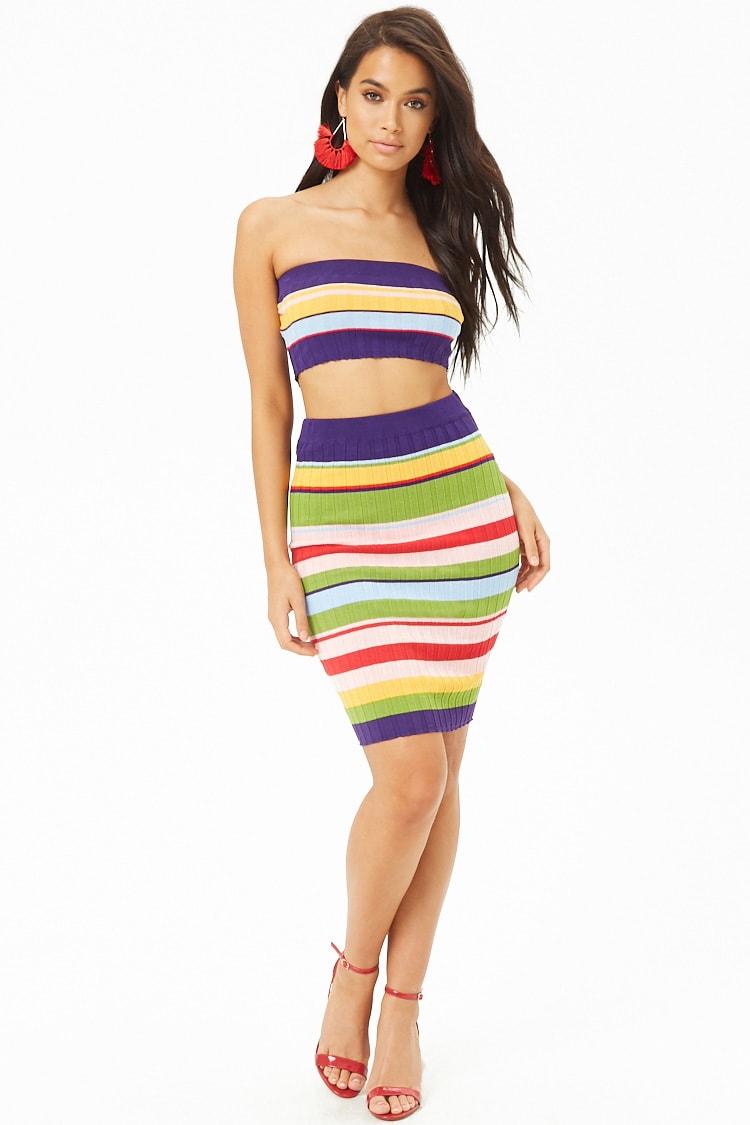 F21 Multi-Striped Tube Top & Skirt Set