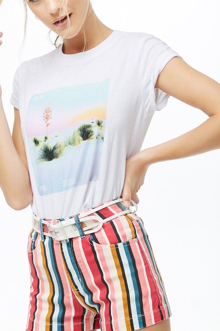 F21 Multicolor Striped Denim Shorts