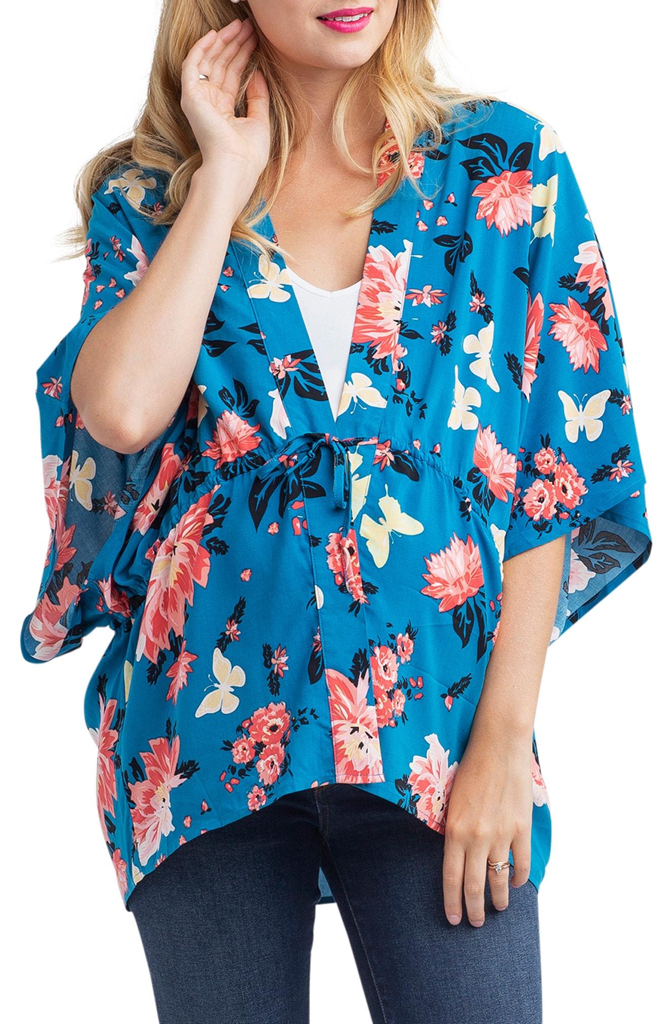 Nom Maternity Floral Kimono Maternity Top