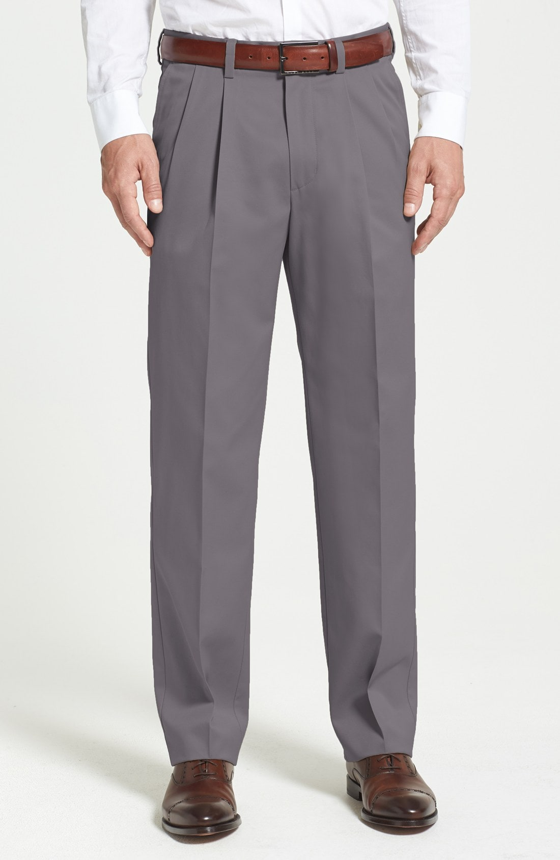 Nordstrom Men's Shop 'Classic' Smartcare Relaxed Fit Double Pleated Cotton Pants (Online Only)