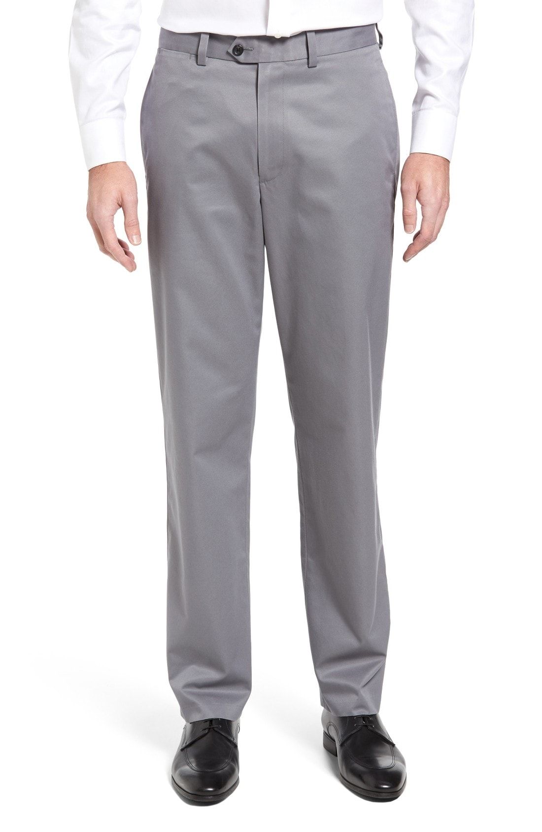 Nordstrom Men's Shop Smartcare Classic Supima Cotton Flat Front Trousers (Online Only)