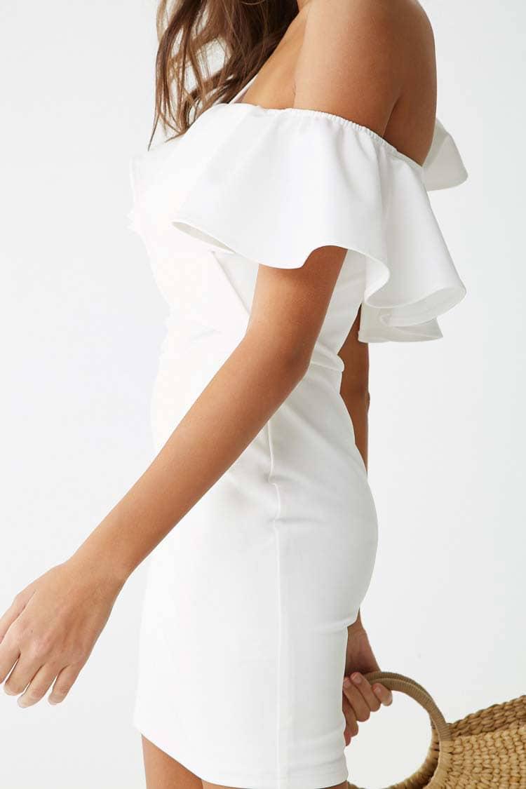 F21 One-Shoulder Flounce Mini Dress