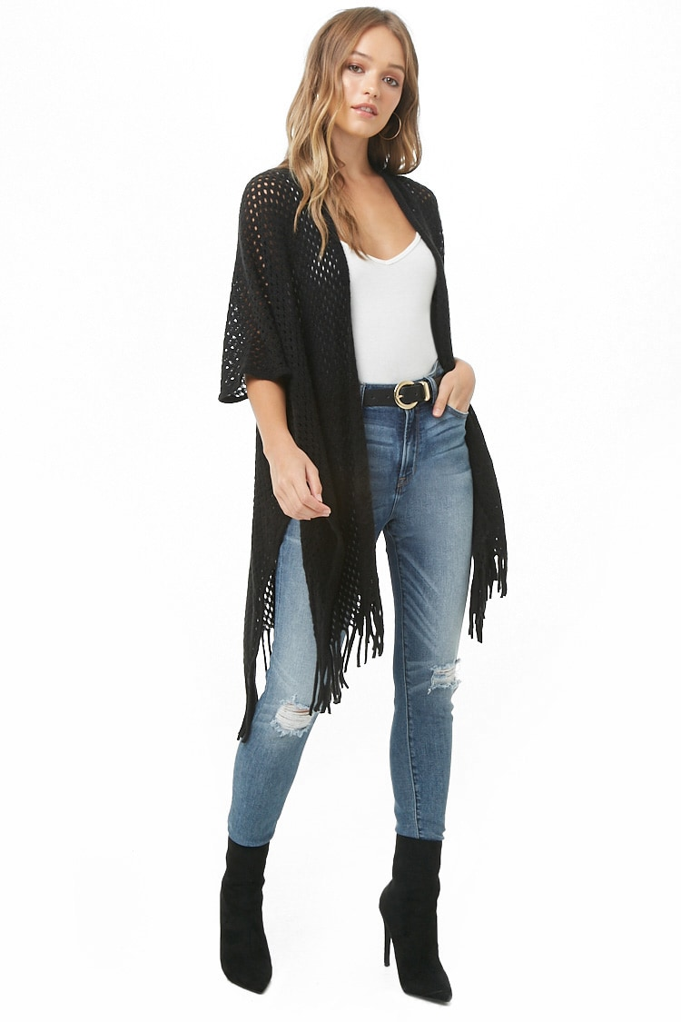 F21 Open-Knit Vented Cardigan