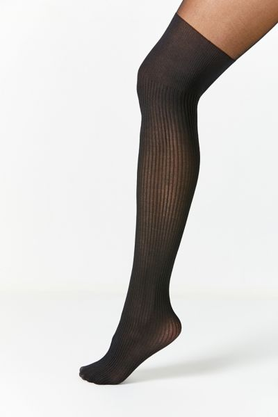 Out From Under Ribbed Faux Thigh High Sheer Tight