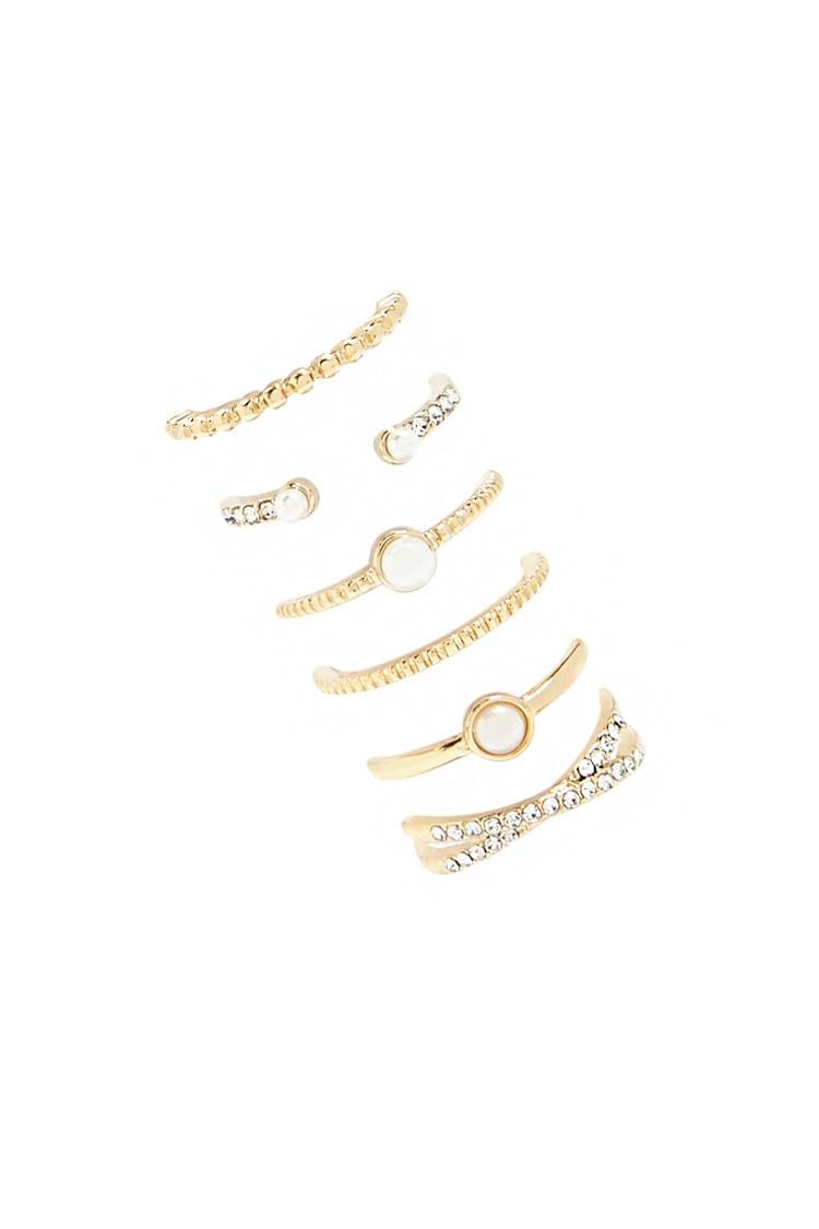 F21 Pearl & Rhinestone Ring Set