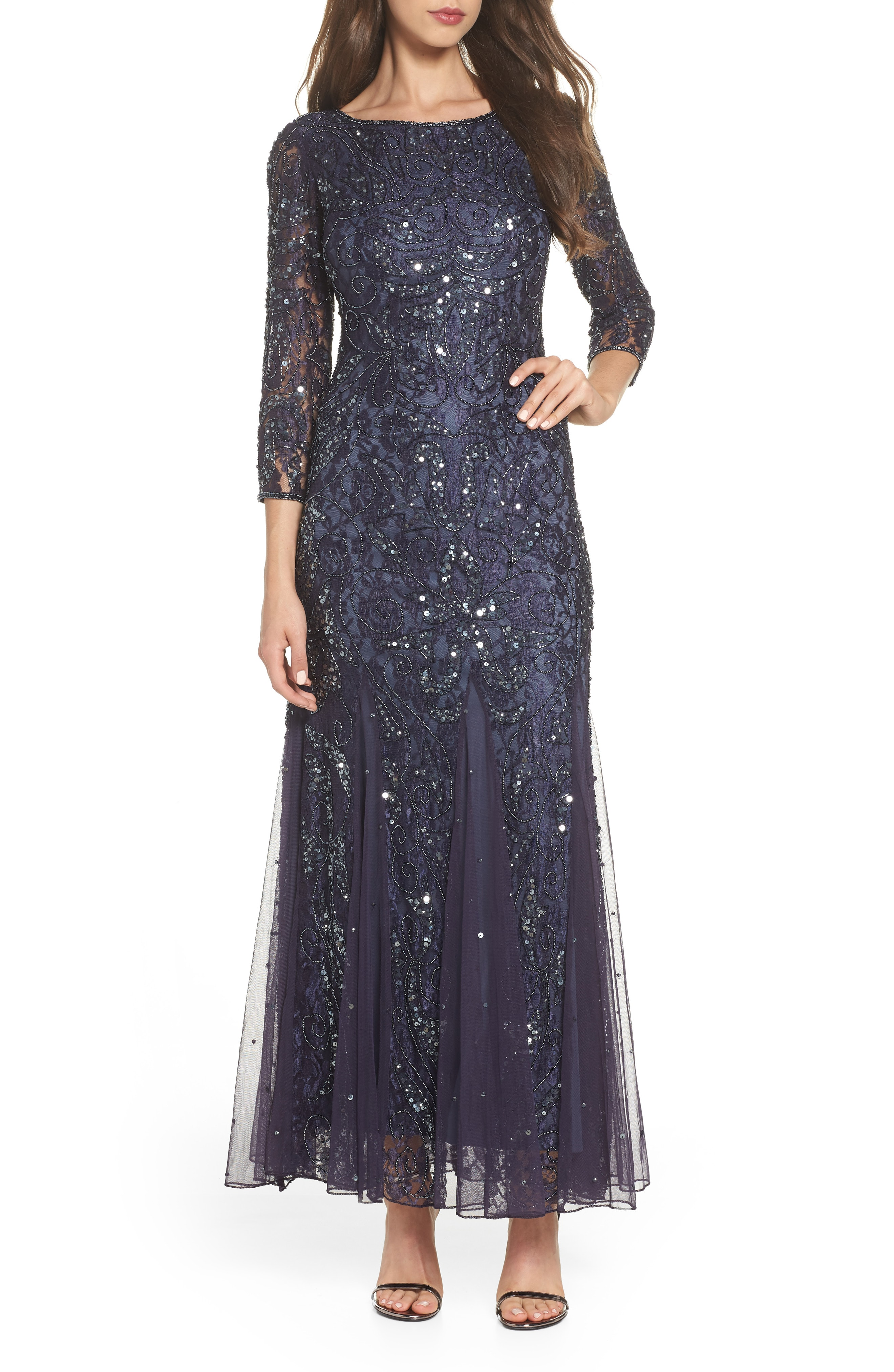 Pisarro Nights Beaded Lace Gown (Regular & Petite)