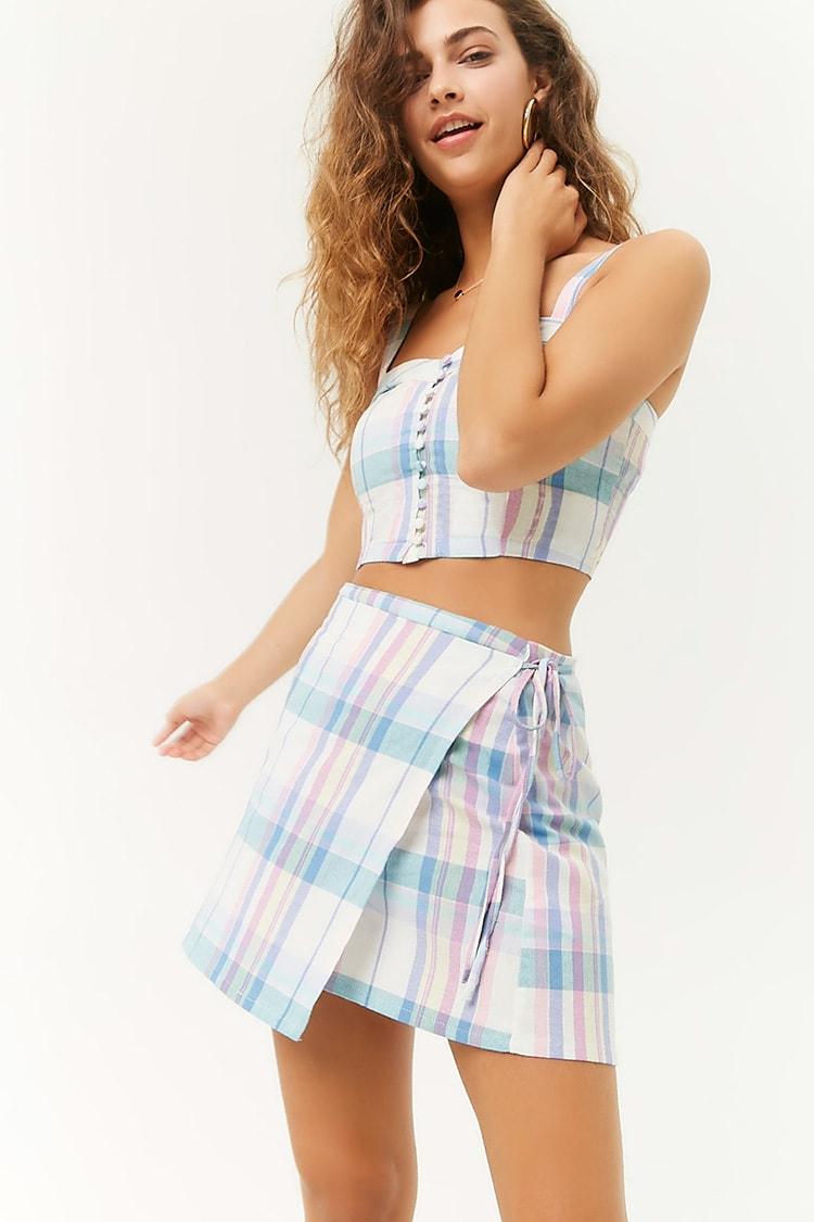 F21 Plaid Wrap Mini Skirt