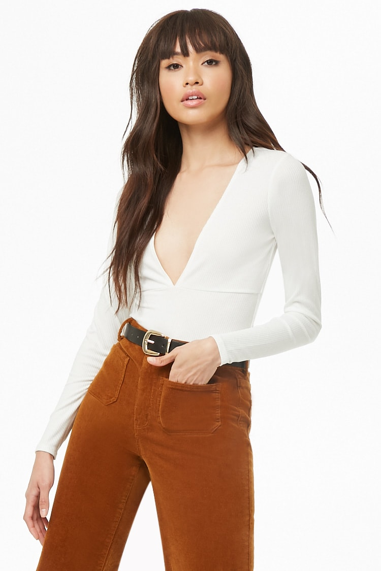 F21 Plunging Ribbed Knit Bodysuit