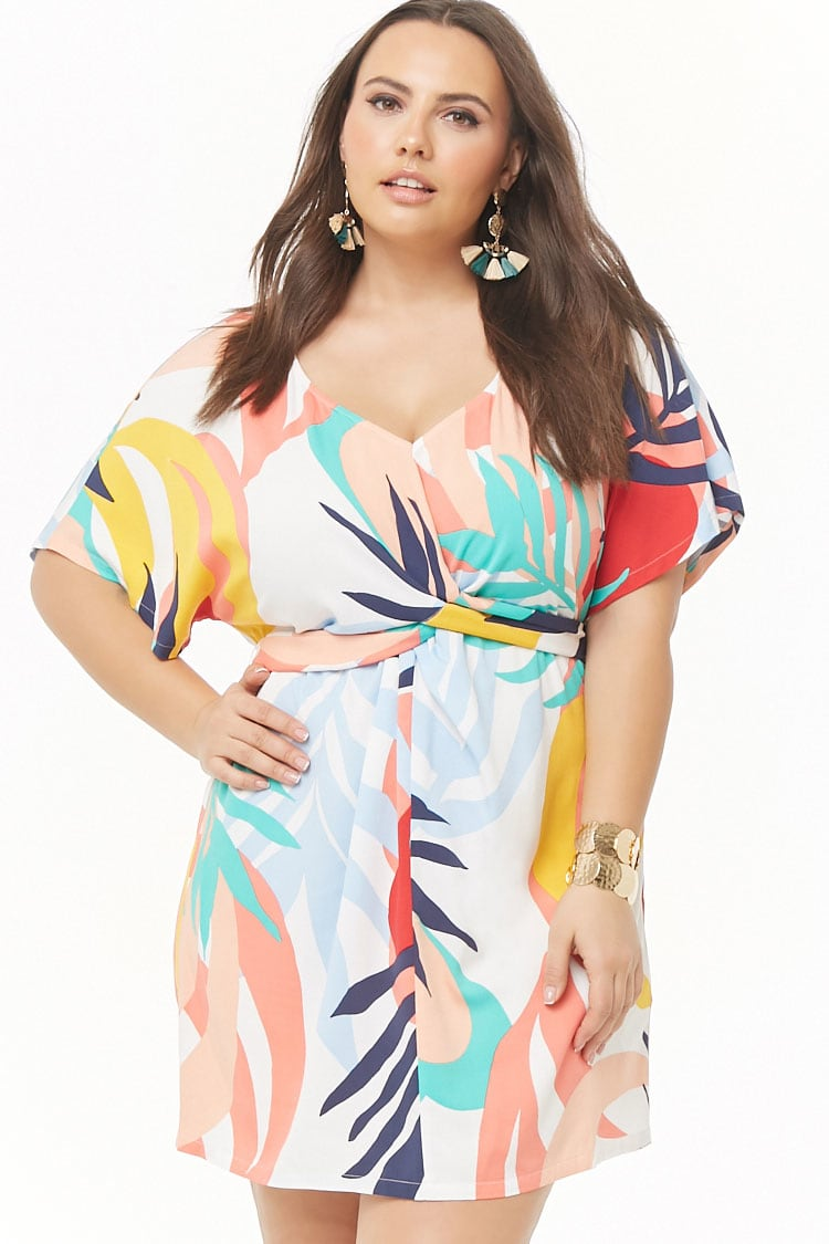 PLUS Plus Size Abstract Tropical Print Dress