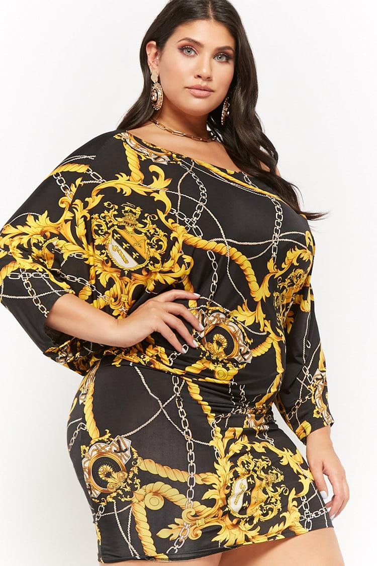 PLUS Plus Size Asymmetrical Rope & Chain Print Mini Dress