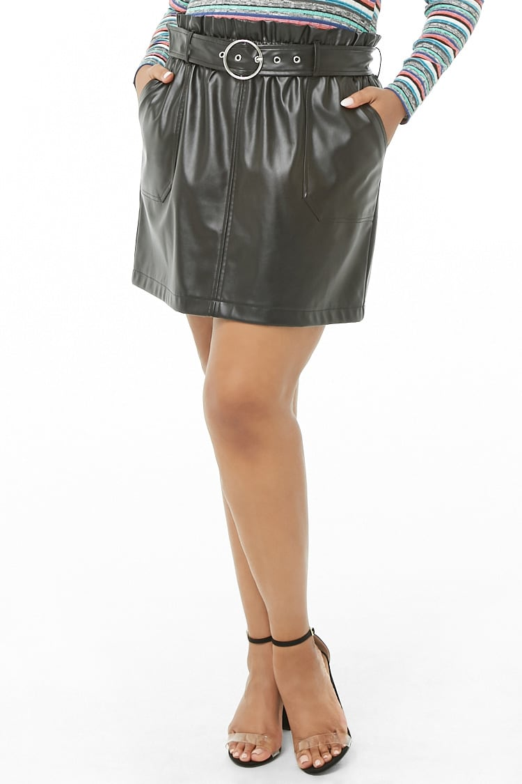 PLUS Plus Size Belted Faux Leather Skirt