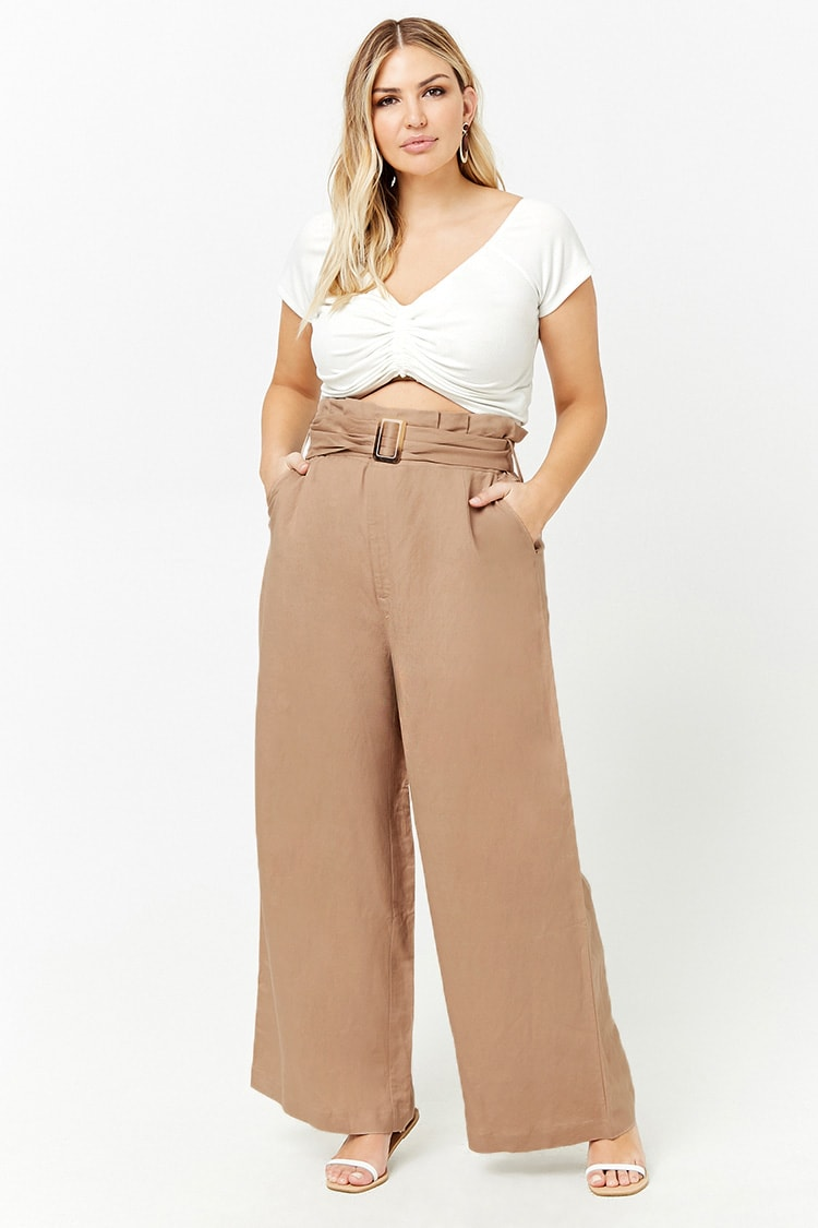 PLUS Plus Size Belted Paperbag Pants