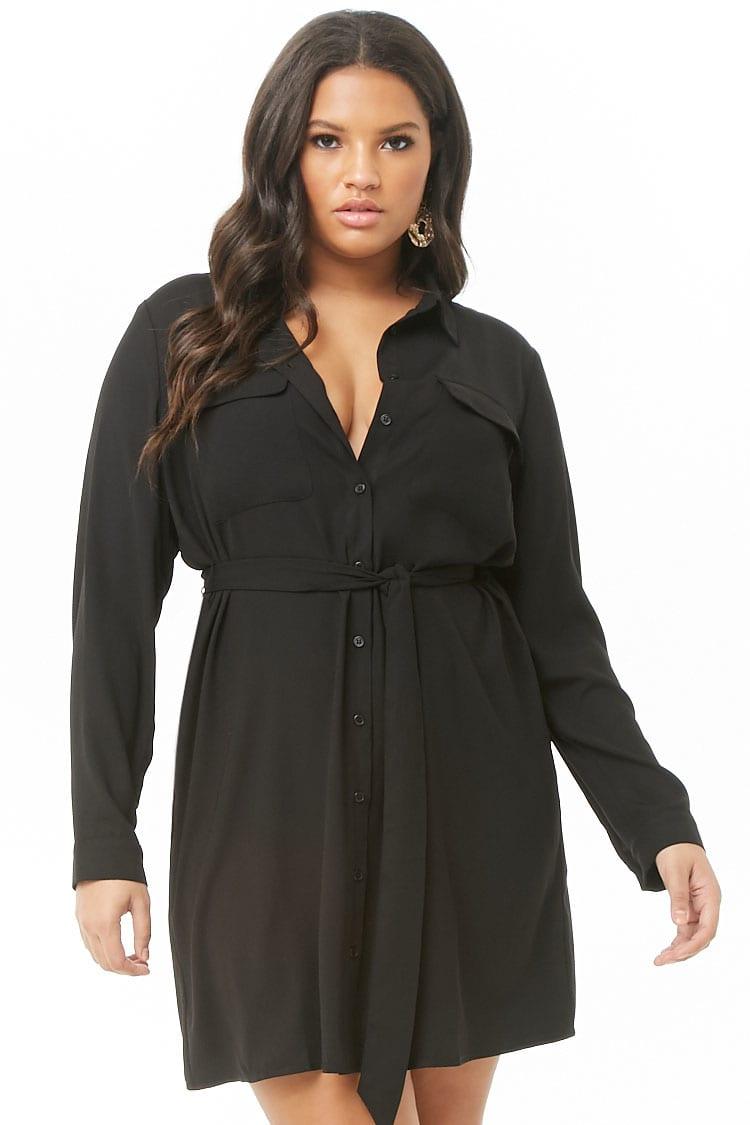 PLUS Plus Size Belted Shirt Dress