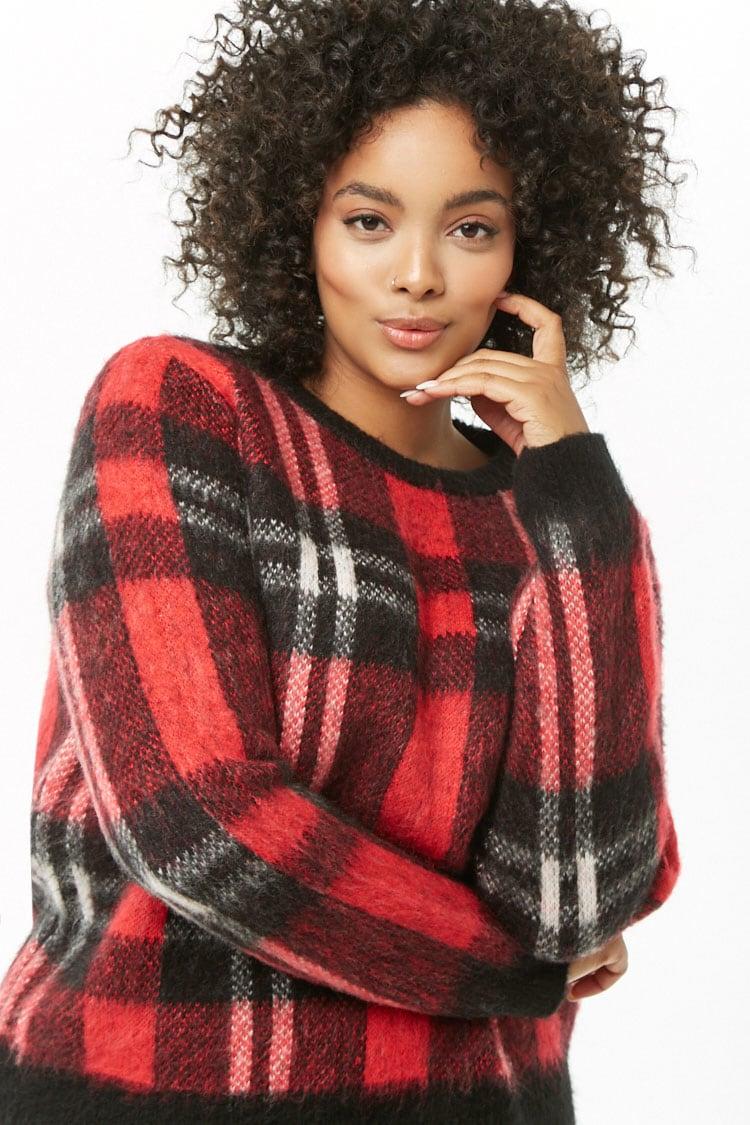 PLUS Plus Size Brushed Knit Plaid Sweater