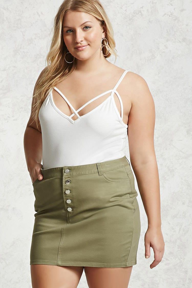 PLUS Plus Size Button Mini Skirt