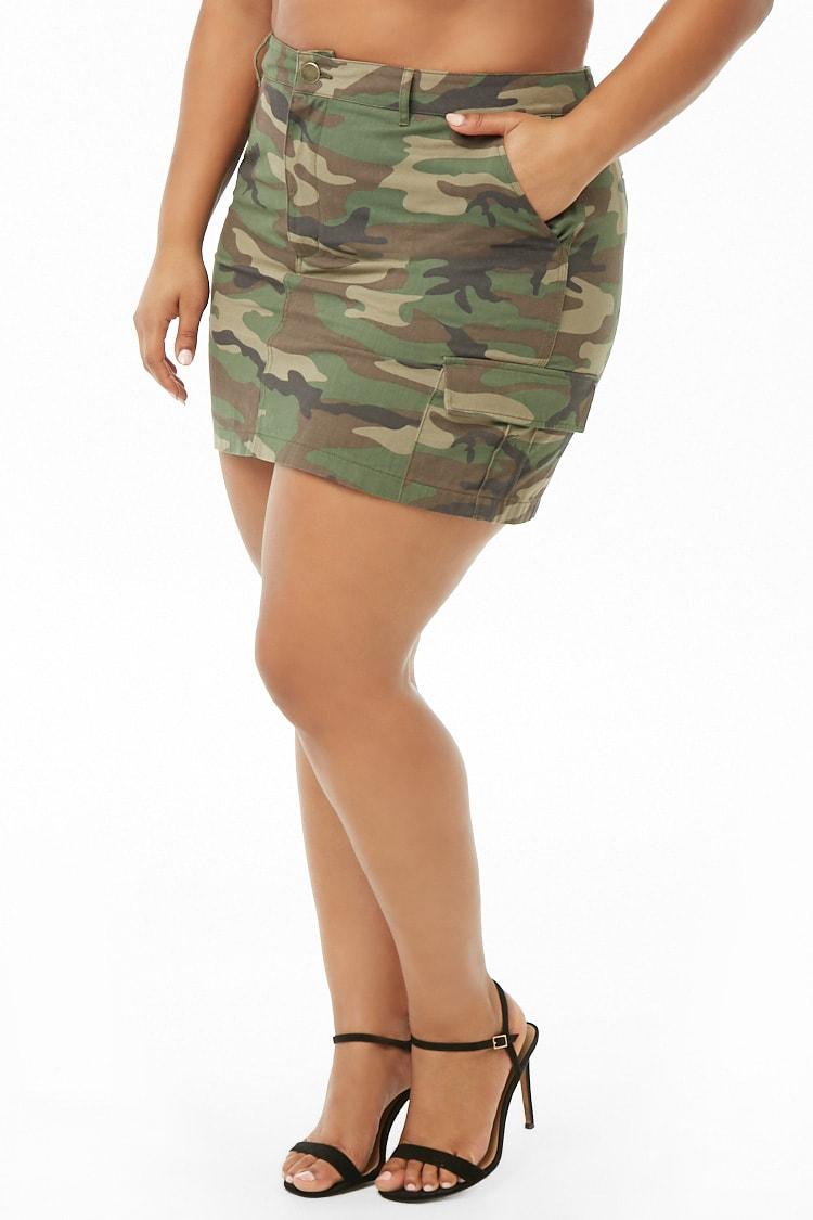 PLUS Plus Size Camo Mini Cargo Skirt