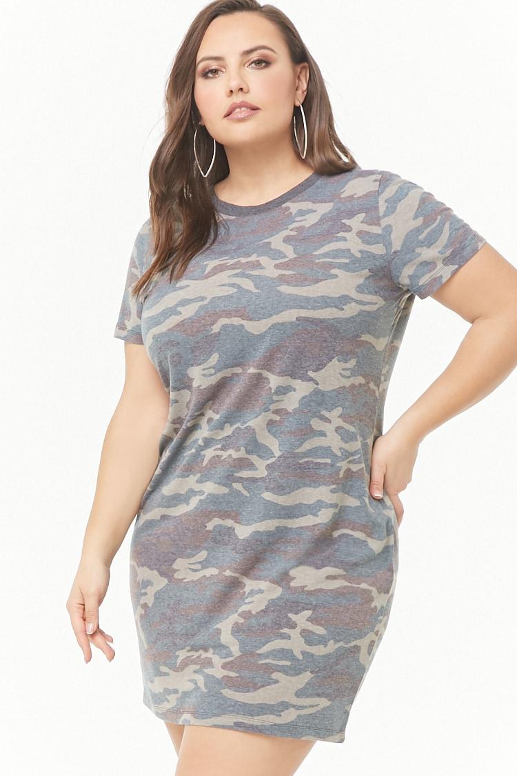 PLUS Plus Size Camo Print T-shirt Dress