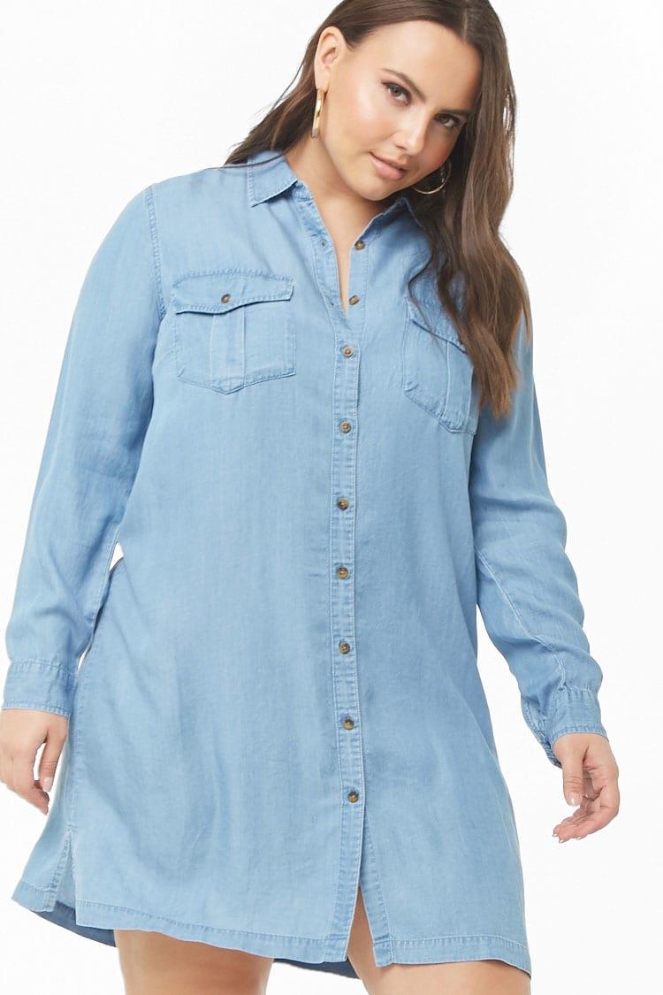 PLUS Plus Size Chambray Shirt Dress