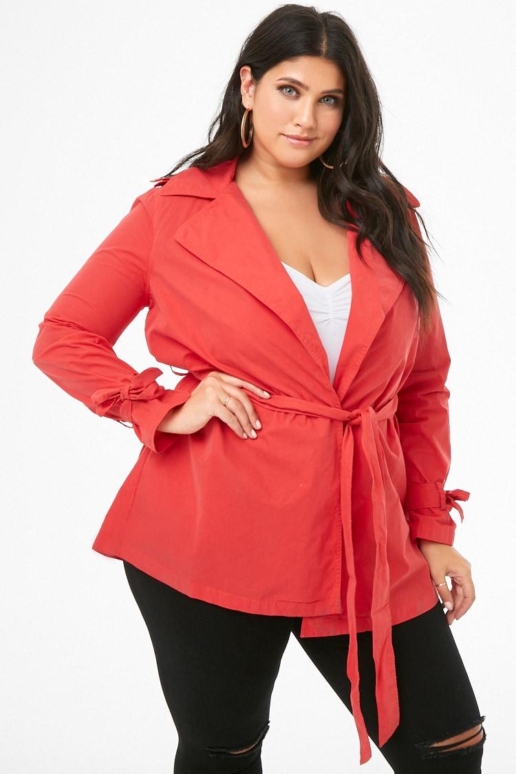 PLUS Plus Size Collared Wrap Jacket