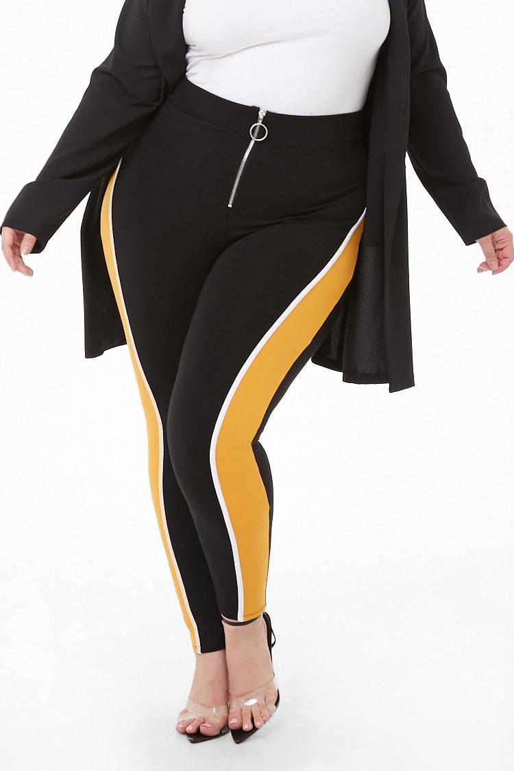 PLUS Plus Size Colorblock Zip Leggings