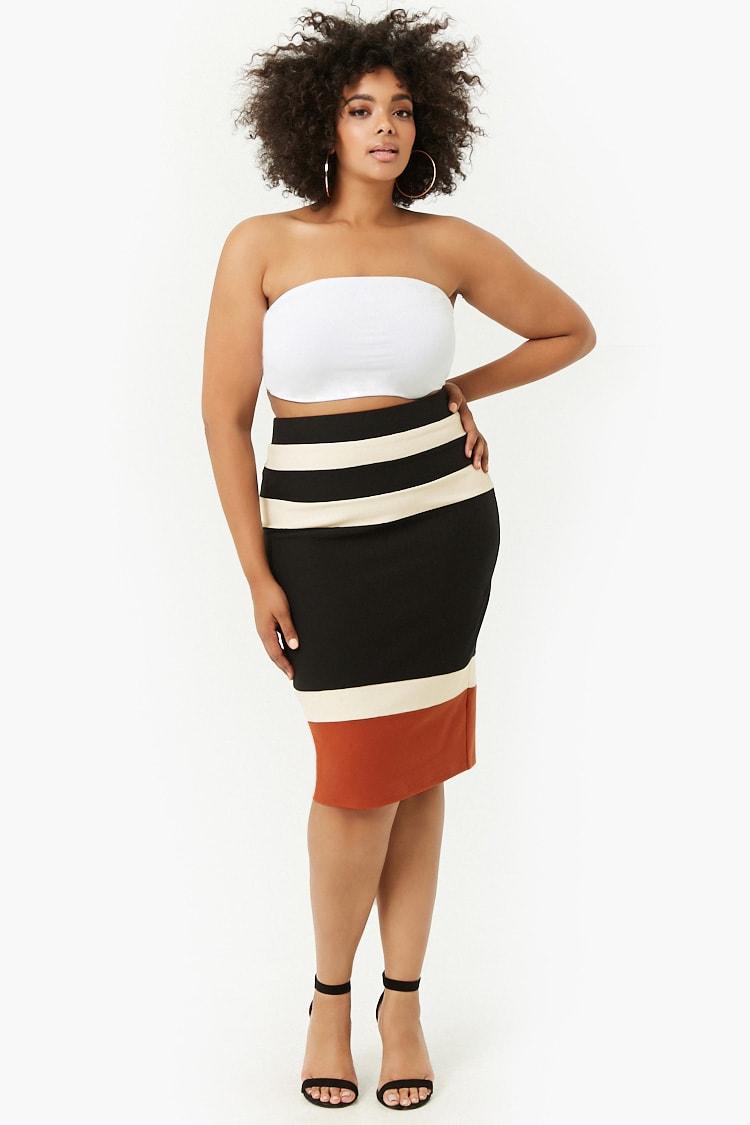 PLUS Plus Size Colorblocked Pencil Skirt