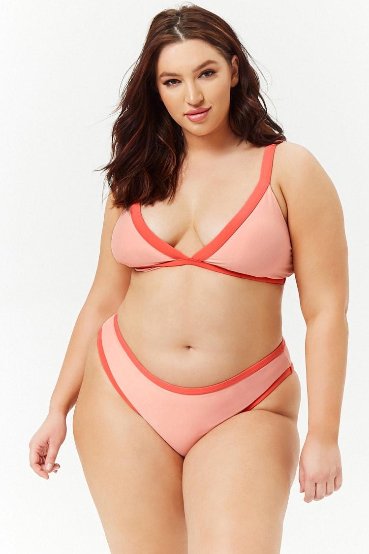 PLUS Plus Size Contrast Trim Bikini Bottoms