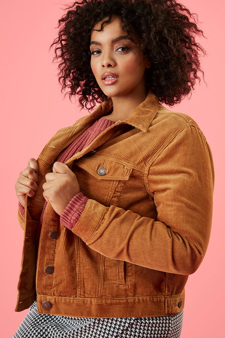 PLUS Plus Size Corduroy Button-Front Jacket