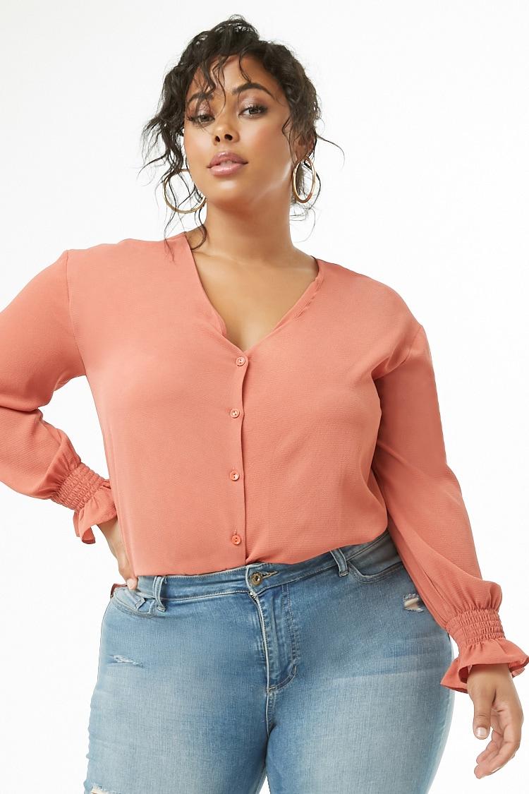 PLUS Plus Size Crepe Split-Side Shirt