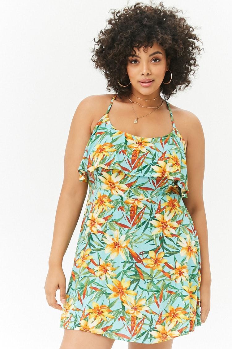 PLUS Plus Size Crisscross Floral Mini Dress
