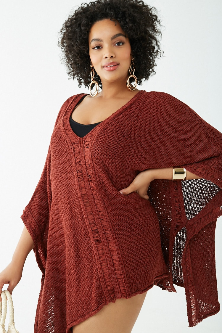 PLUS Plus Size Crochet Kaftan Swim Cover-Up
