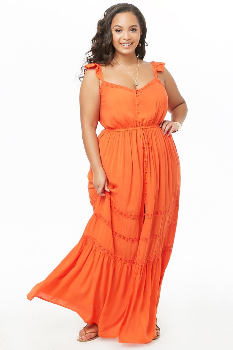 PLUS Plus Size Crochet-Trim Maxi Dress