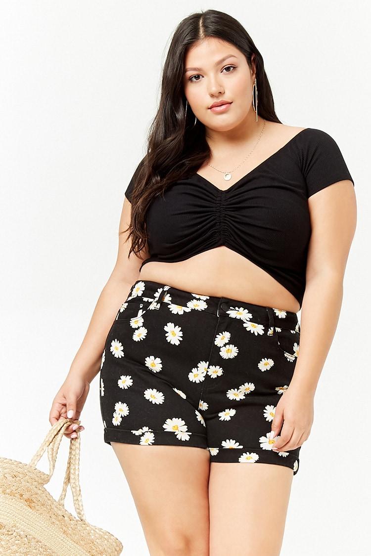 PLUS Plus Size Daisy Print Denim Shorts