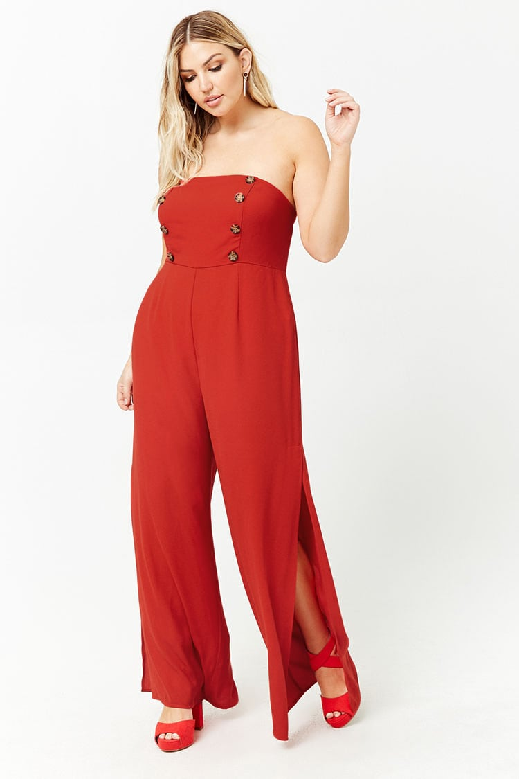 PLUS Plus Size Double Breasted Strapless Jumpsuit