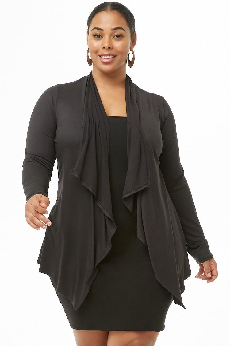 PLUS Plus Size Draped-Front Cardigan