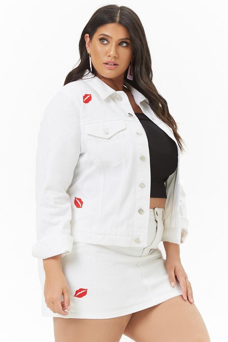 PLUS Plus Size Embroidered Lips Denim Jacket