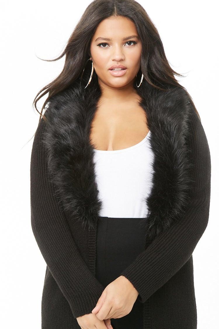 PLUS Plus Size Faux Fur-Trim Cardigan