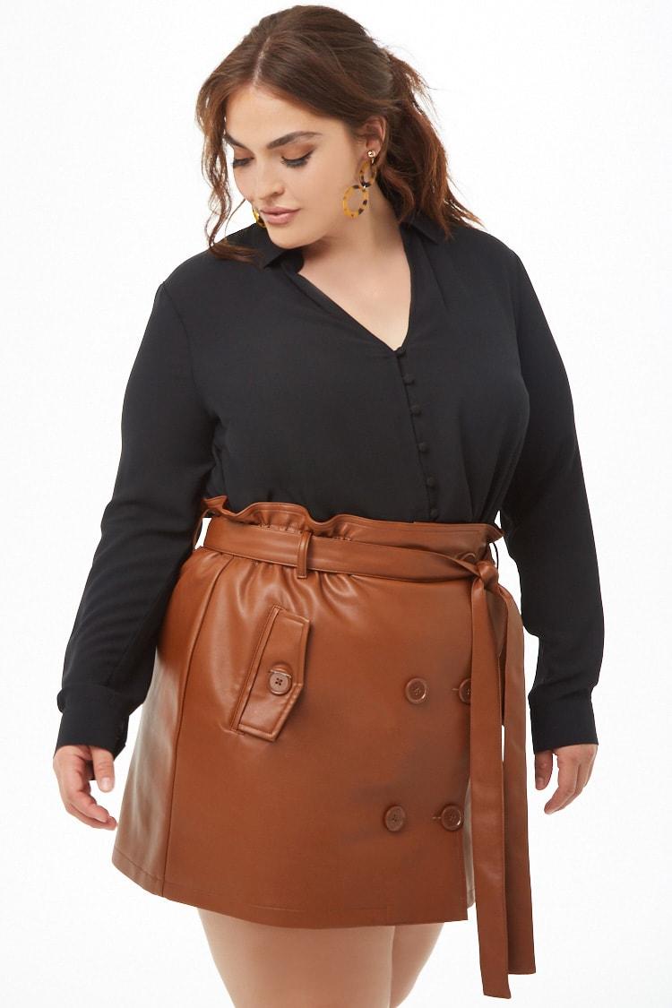 PLUS Plus Size Faux Leather Mini Skirt