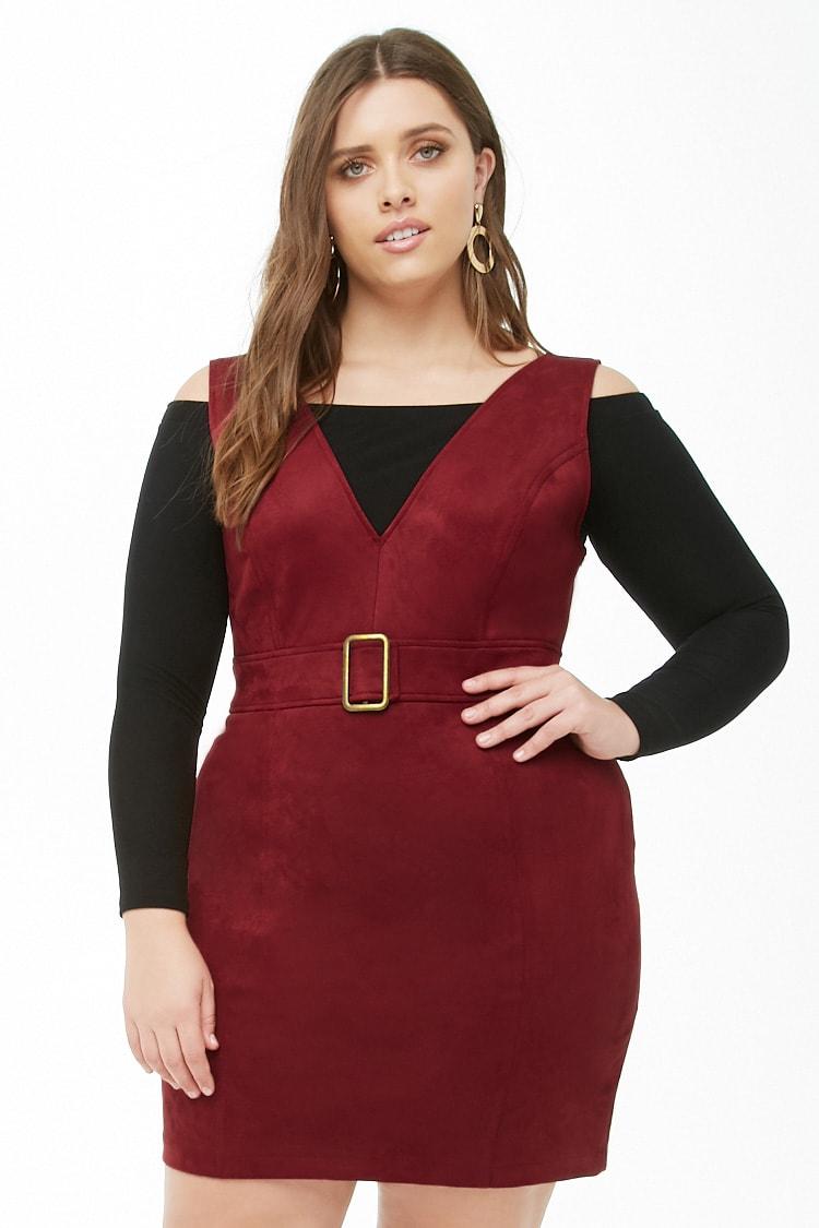 PLUS Plus Size Faux Suede Buckle Dress