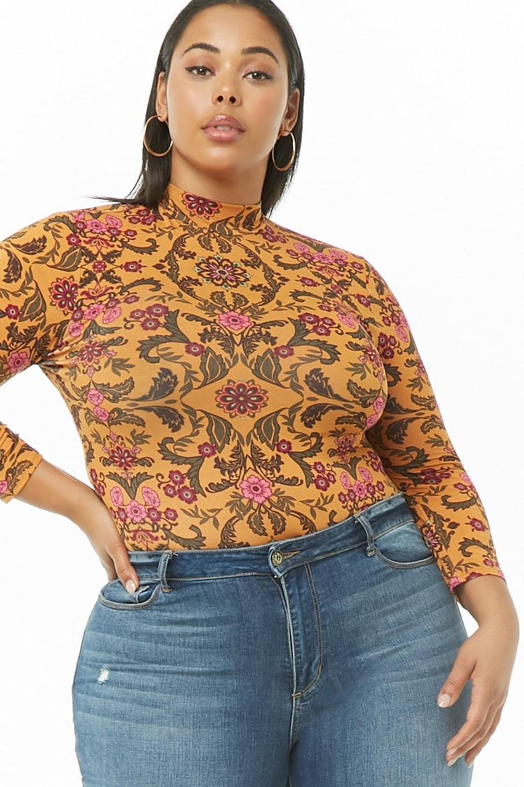 PLUS Plus Size Floral Mock Neck Cutout Bodysuit