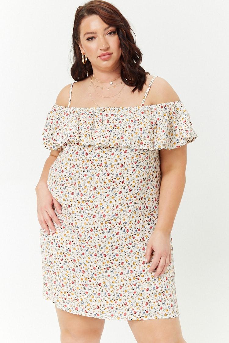 PLUS Plus Size Floral Print Open-Shoulder Dress