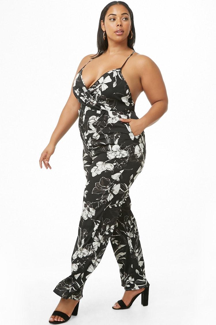 PLUS Plus Size Floral Print Wide-Leg Jumpsuit