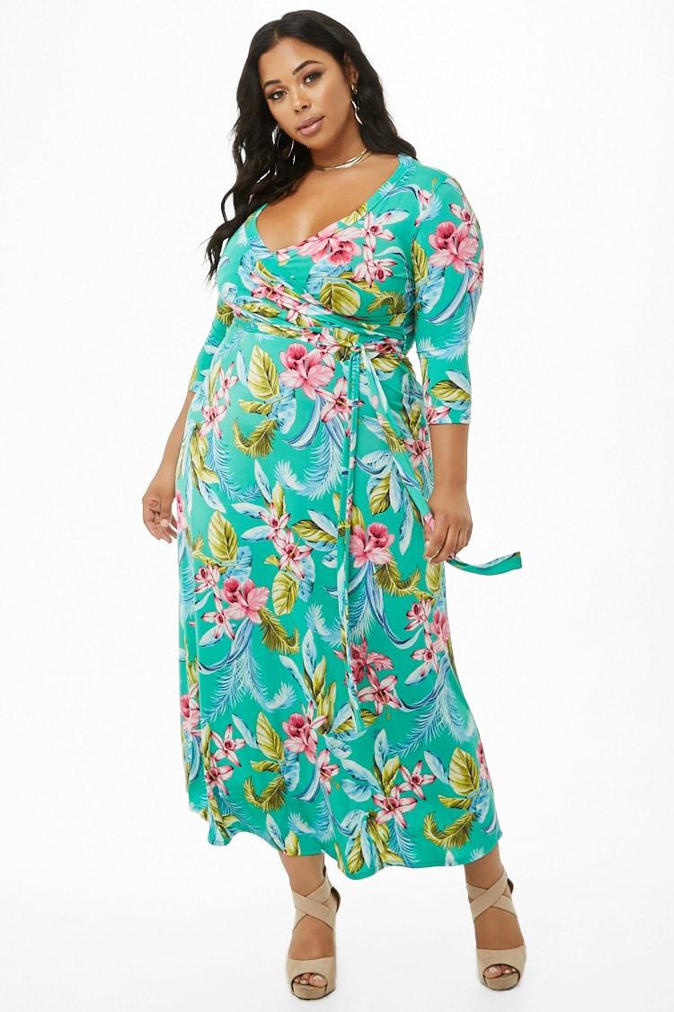 PLUS Plus Size Floral Surplice Maxi Dress