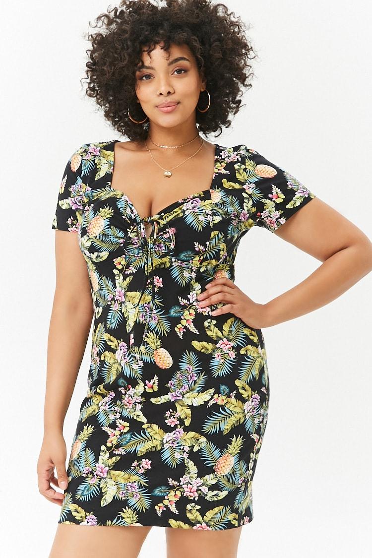 PLUS Plus Size Floral Tie-Front Dress