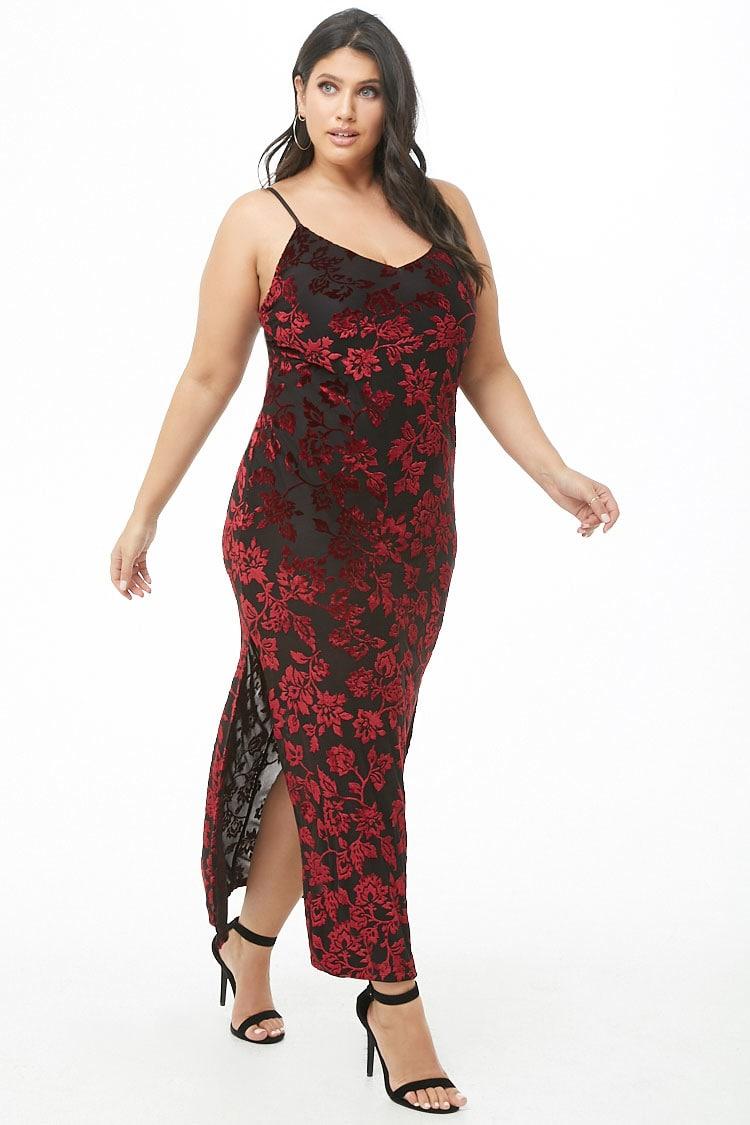 PLUS Plus Size Floral Velvet Maxi Dress