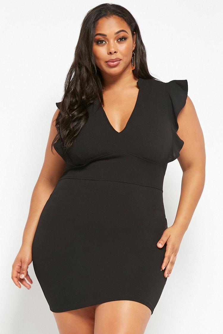 PLUS Plus Size Flounce-Trim Mini Dress