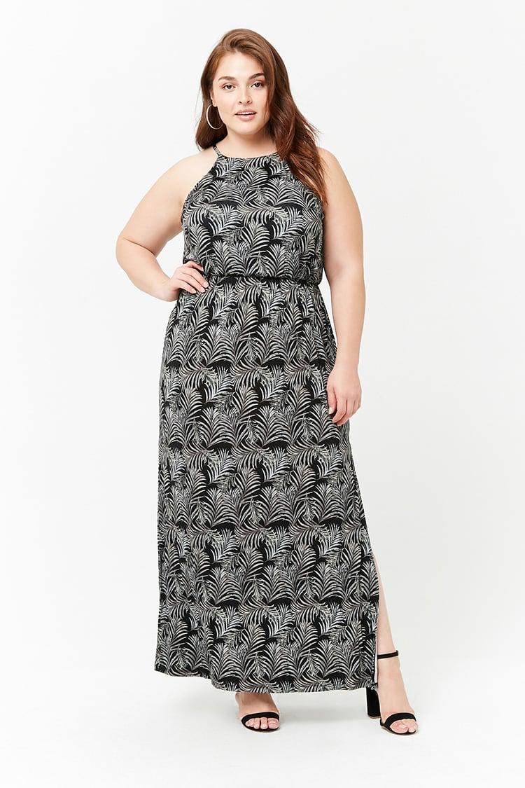 PLUS Plus Size Foliage Print Maxi Dress