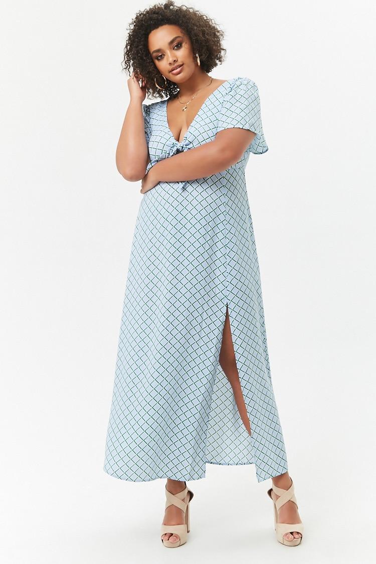 PLUS Plus Size Geo Print Maxi Dress