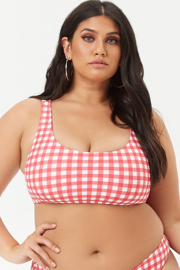 PLUS Plus Size Gingham Bikini Top
