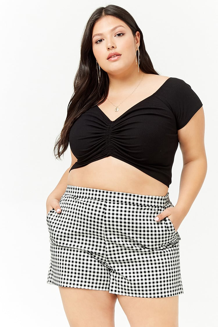 PLUS Plus Size Gingham Shorts