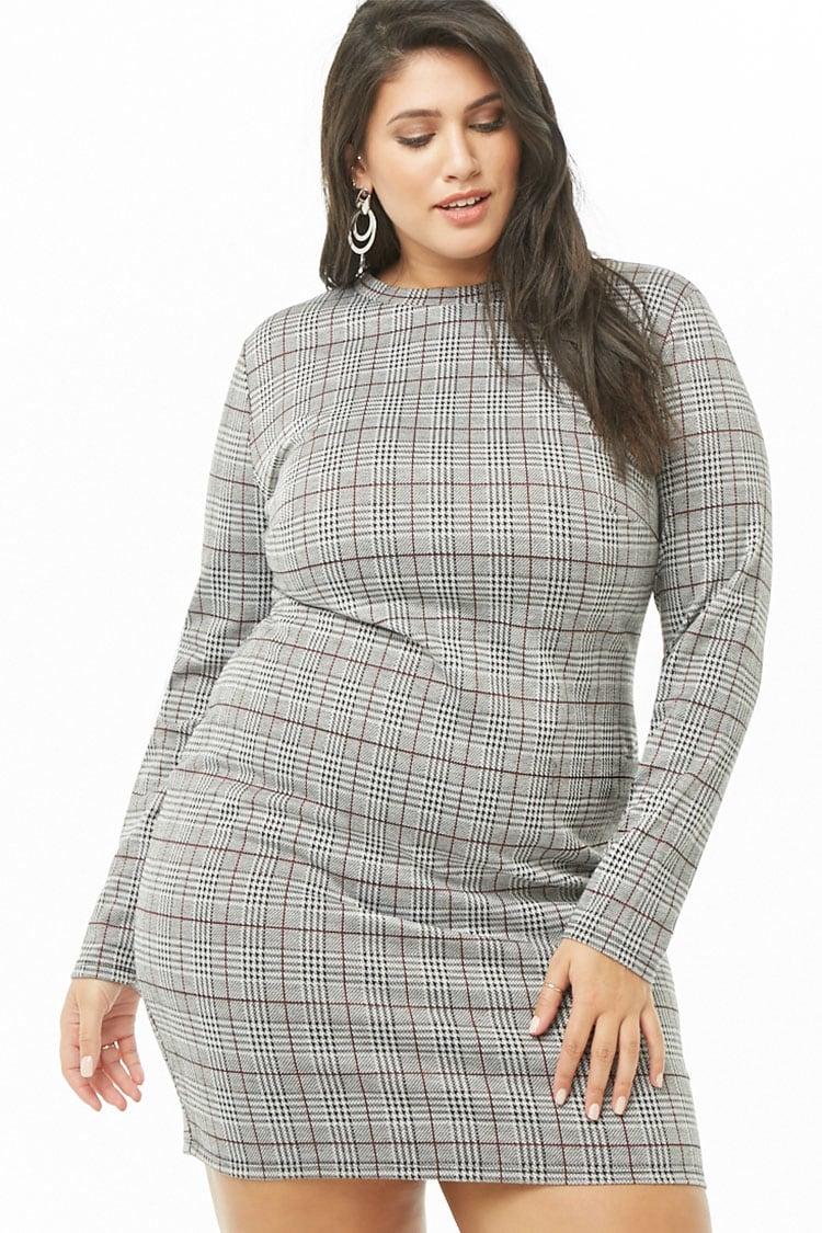 PLUS Plus Size Glen Plaid Mini Dress
